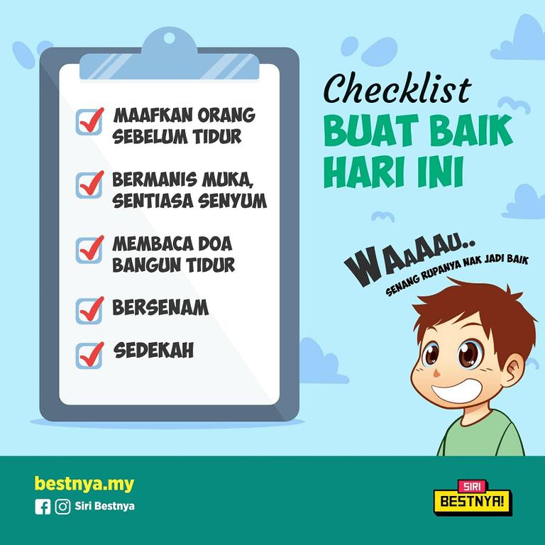 Senarai checklist untuk buat baik hari ini