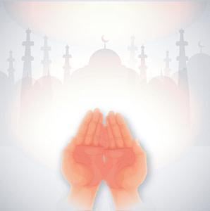 Tanga orang berdoa disertai gambar masjid di belakang